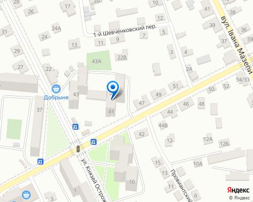 Расположение магазина NSP в Житомире на Яндекс карте