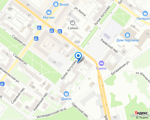 Расположение магазина NSP в Выборге на Яндекс карте