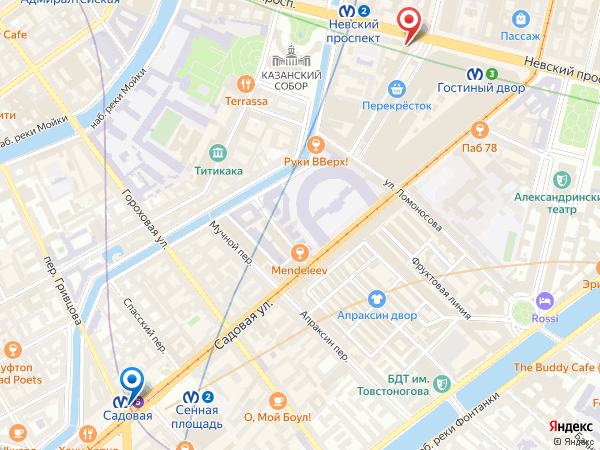 салон эротического массажа Ero Jinny у метро Садовая - карта