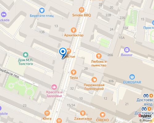 Расположение магазина NSP в Санкт-Петербурге на Яндекс карте