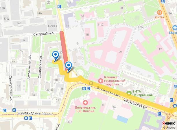 Схема проезда в сервис-центр 78-print.ru с Большого Сампсониевского проспекта на yandex.map