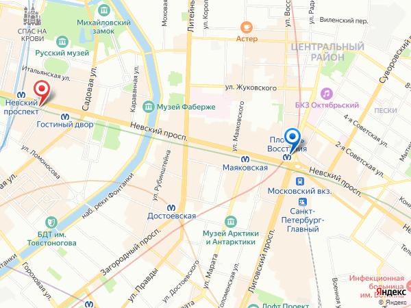 салон эротического массажа Ero Jinny у метро Площадь Восстания - карта