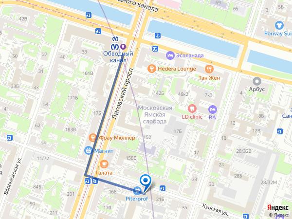 Обводный канал, ул. Курская, д.21 Б, оф.№1