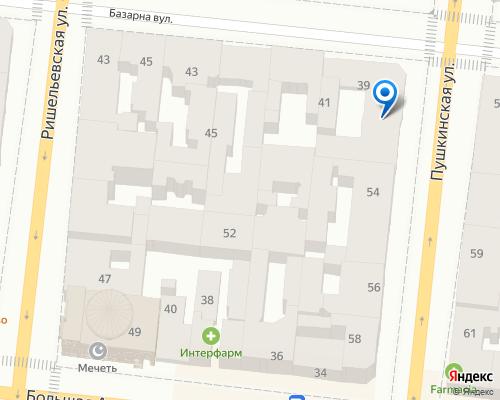 Расположение магазина NSP в Одессе на Яндекс карте
