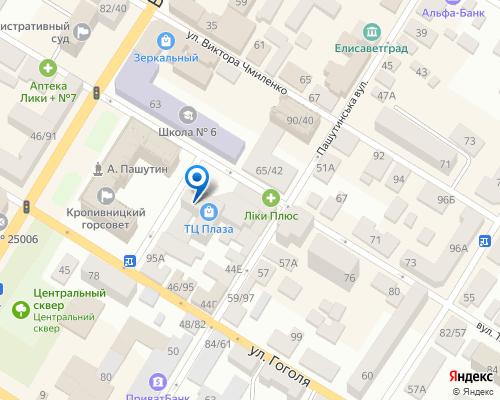 Расположение магазина NSP в Кропивницком на Яндекс карте