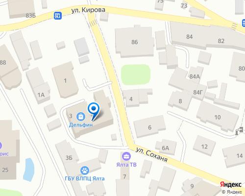 Расположение магазина NSP в Ялте на Яндекс карте