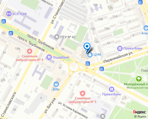 Расположение магазина NSP в Никополе на Яндекс карте