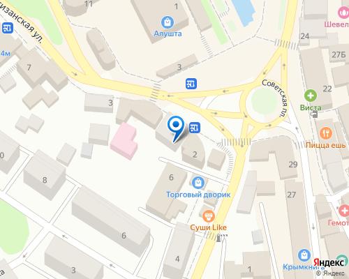 Расположение магазина NSP в Алуште на Яндекс карте