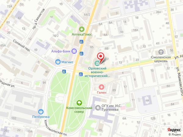 Военно-исторический музей на карте - Режим работы