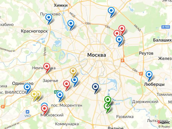 Карта магазинов с монтажными комплектами для установки дверей в Москве