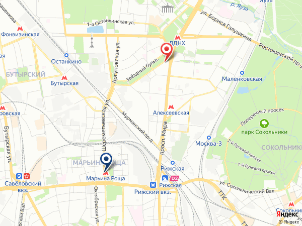маршрут в салон эротического массажа Pandora на Марьиной Роще
