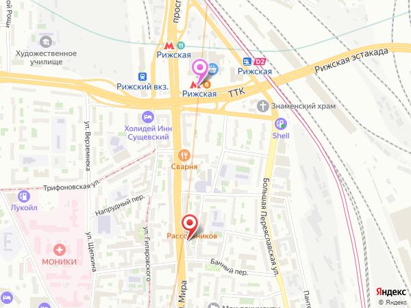 маршрут в массажный салон Вегас от метро Рижская