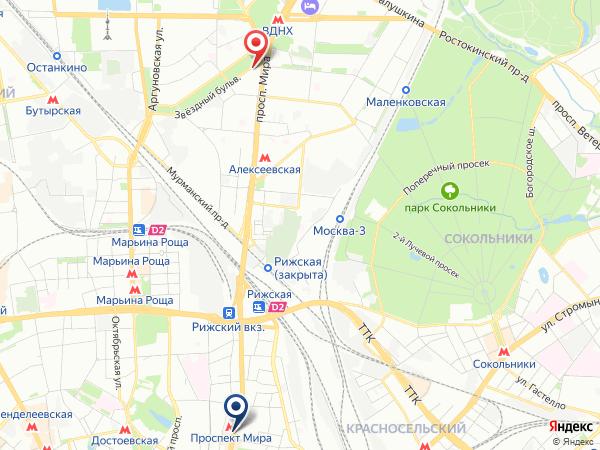 маршрут в салон эротического массажа Pandora на Проспекте Мира