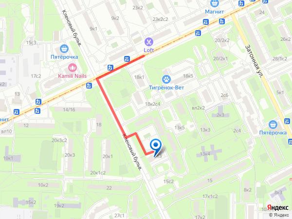 Схема проезда в стоматологию от ул Судостроительная ЮЗАО
