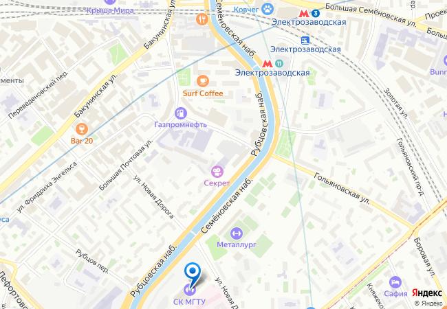 Карта проезда к Спорткомплексу МГТУ им. Н.Э. Баумана