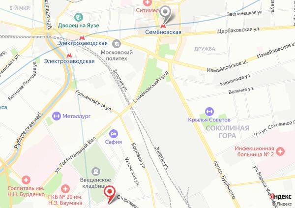 карта маршрута на массаж на Семеновской