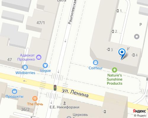 Расположение магазина NSP в Краснодаре на Яндекс карте