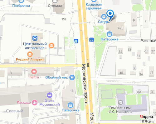 Расположение магазина NSP в Воронеже на Яндекс карте