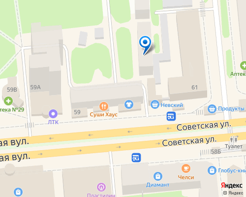 Расположение магазина NSP в Луганске на Яндекс карте