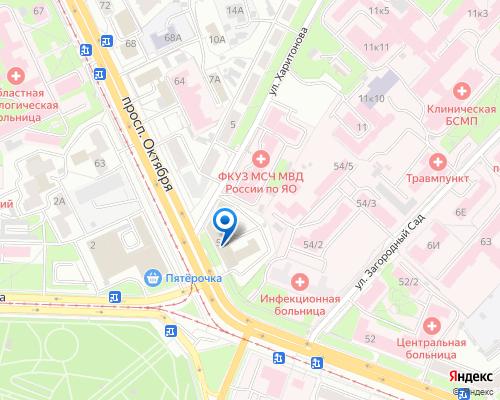 Расположение магазина NSP в Ярославле на Яндекс карте