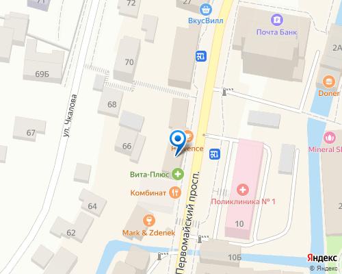 Расположение магазина NSP в Кисловодске на Яндекс карте