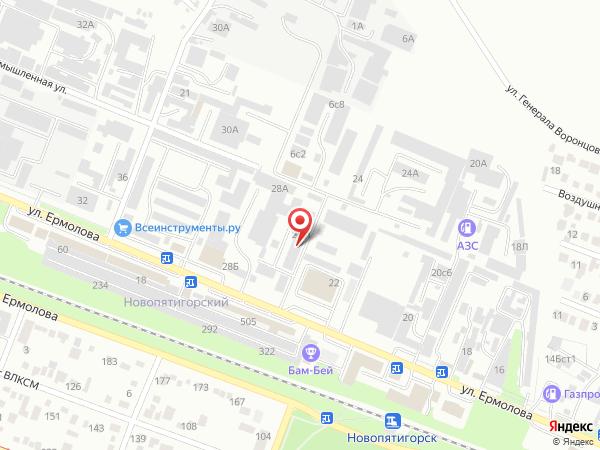 Печатная версия схемы проезда к филиалу КИП-Сервис в Пятигорске