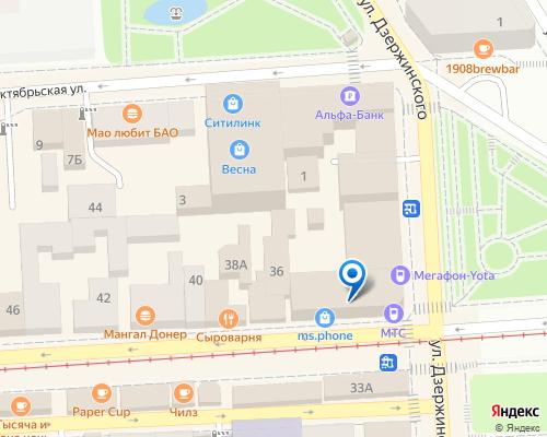 Расположение магазина NSP в Пятигорске на Яндекс карте
