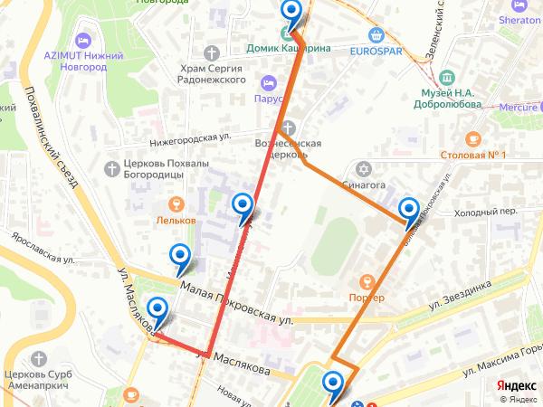 Как пройти от остановок транспорта к музею Домик Каширина