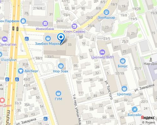 Расположение магазина NSP в Ереване на Яндекс карте
