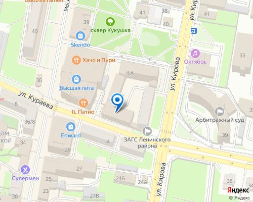 Расположение магазина NSP в Пензе на Яндекс карте