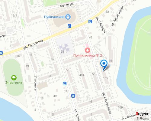 Расположение магазина NSP в Кургане на Яндекс карте