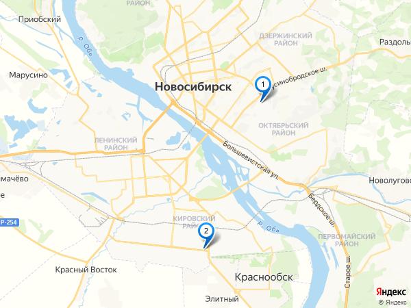 Карта дилеров Renault в Новосибирске