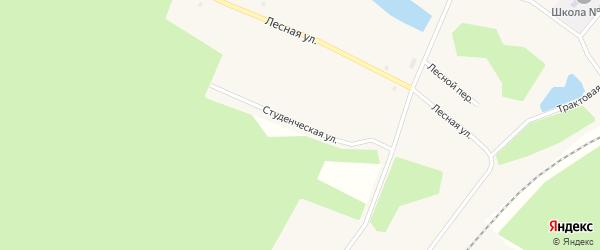 Студенческая улица на карте поселка Сосновки Иркутской области с номерами домов