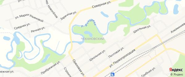 Карта Чекановского города Братска в Иркутской области с улицами и номерами домов