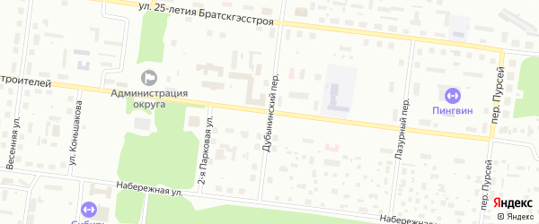 Дубынинский переулок на карте Падуна с номерами домов