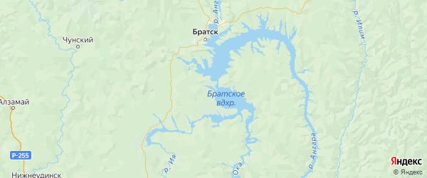 Карта Братского района Иркутской области с городами и населенными пунктами