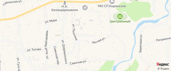 Улица 40 лет Победы на карте села Кырена с номерами домов