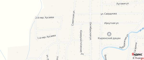 Советская улица на карте села Кырена с номерами домов