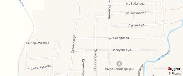 Улица Свердлова на карте села Кырена с номерами домов