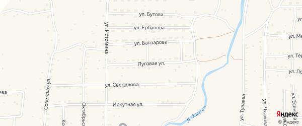 Луговая улица на карте села Кырена с номерами домов