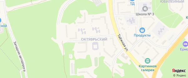 Октябрьский микрорайон на карте Саянска с номерами домов