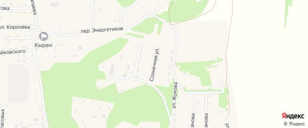 Солнечная улица на карте села Кырена с номерами домов