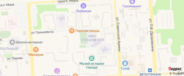Микрорайон Строителей на карте Саянска с номерами домов