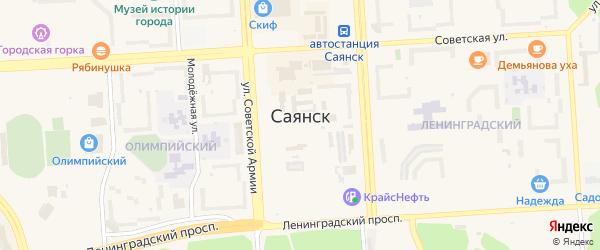 Автодорога Подгорная территория на карте Саянска с номерами домов