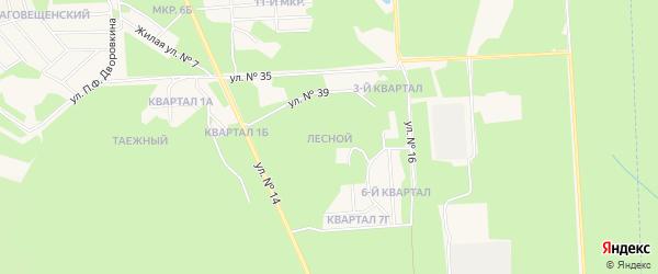 Карта Лесного микрорайона города Саянска в Иркутской области с улицами и номерами домов