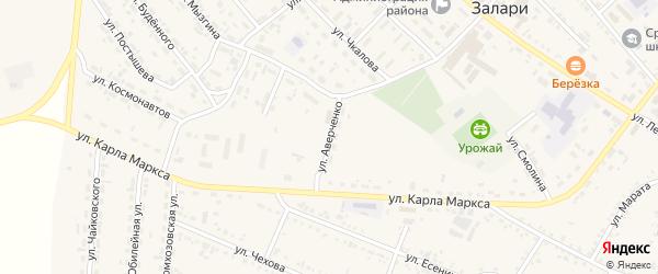 Улица Аверченко на карте поселка Залари Иркутской области с номерами домов