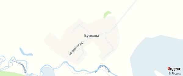 Карта деревни Буркова в Иркутской области с улицами и номерами домов