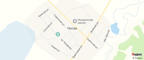 Карта деревни Ныгда в Иркутской области с улицами и номерами домов