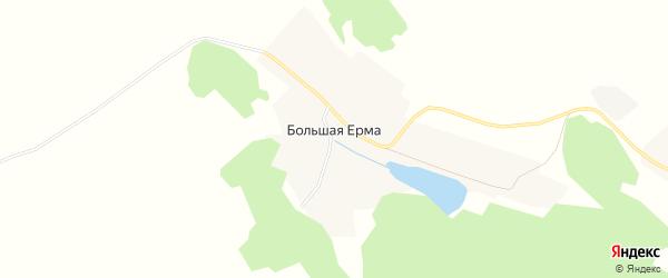 Карта деревни Большей Ерма в Иркутской области с улицами и номерами домов