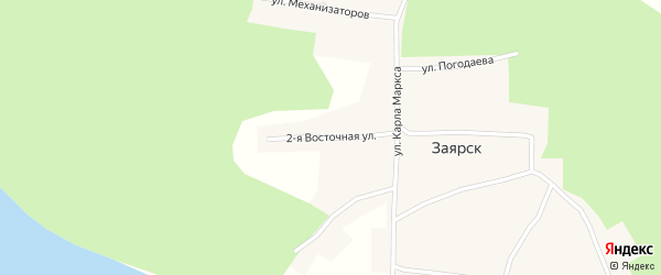 Восточная 2-я улица на карте поселка Заярск Иркутской области с номерами домов